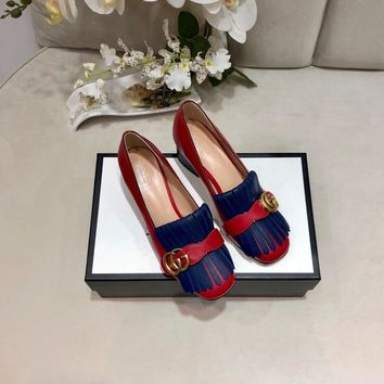 Top quality 2020 office GUCCI Women Fashion Retro Buckle Leather Heels sandals Shoes blue red