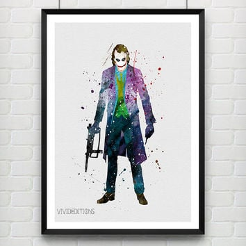 Joker Watercolor Art Print, Heath Ledger Joker, Batman Superhero, Boys Room Wall Art, Home Decor, Not Framed, Buy 2 Get 1 Free! [No. 188]