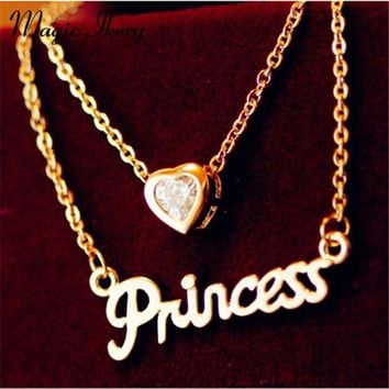 Magic Ikery Lovely Heart Pendant Chain Princess Necklace Rose Gold Color Crystal Multi Layers Fashion Jewelry