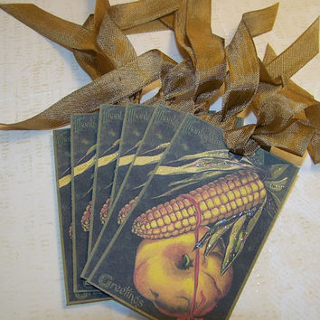 Autumn Tags Fall Tags Thanksgiving Tags Vintage Style Set of 6