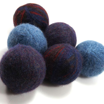 Felted Wool Dryer Balls - Blue Eco-Friendly Laundry Balls - Chemical Free Fabric Softener - Wool Laundry Balls - Wool Cat toy