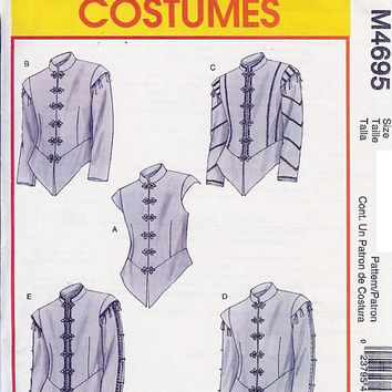 McCall's M4695 Sewing Pattern Men's Renaissance Doublets Fitted Top Stand Up Collar Shirt Peplum Knight Medievil Uncut Size XL