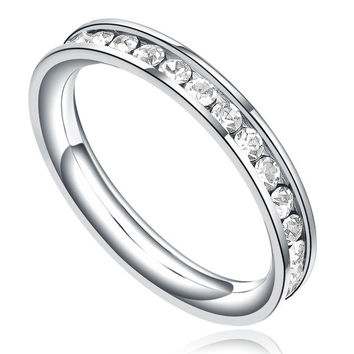 Stainless Steel 3mm Eternity Ring W. Clear Cubic Zirconia Womens Stackable Engagement Wedding Band = 1932467780