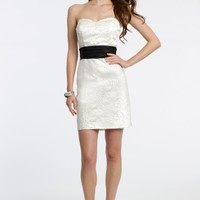 Strapless Rosette Short Dress with Cummerbund