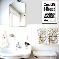 Medicine Cabinet Bathroom Washroom Art Urban Modern Gallery Contemporary Black White Graphic