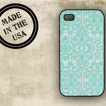 Shabby chic Iphone 4 case - Fall colors, distressed damask Tiffany blue - Iphone 5 case Iphone 4s cover (9904)