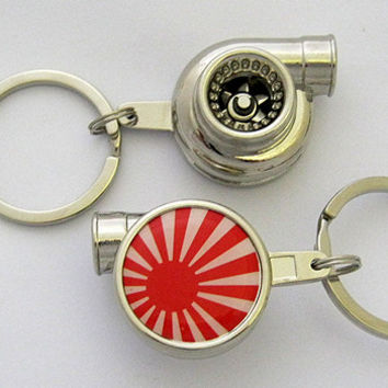 Spinning Turbo Keychain - JDM Flag Logo
