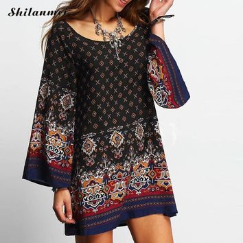 2017 Womens Vintage Loose style Dress Summer Ladies Long Sleeve O Neck hippie boho chic vestido Ethnic print party beach dress