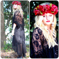 Gypsy fall hair wreath, Floral crown, boho festival crown, headpiece, woodland fairy crown, mori girl bridal head piece true rebel clothing