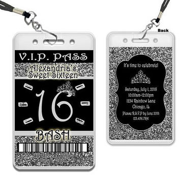 Silver Sweet 16 VIP Pass Invitation Lanyard - Silver Glitter Sweet 16 Invitations - Silver and Black Sweet 16 Party Favors -  Tiara Princess