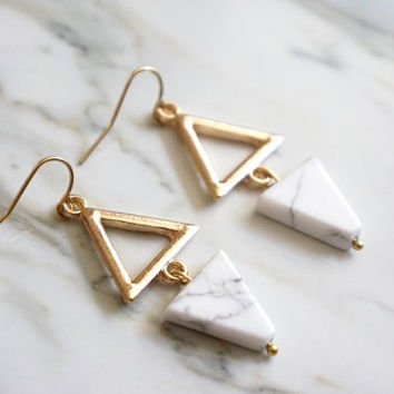 Triangle Earrings - Onyx and Marble Earrings / Geometric Jewelry