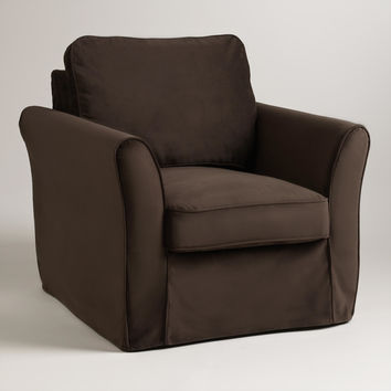 Chocolate Brown Velvet Loose-Fit Luxe Chair Slipcover - World Market