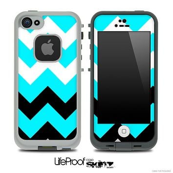 Medium Turquoise, Black and White Chevron Pattern Skin for the iPhone 5 or 4/4s LifeProof Case
