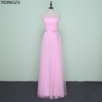 YIDINGZS Tulle Mint/Purple/Pink Pleat Long Bridesmaid Dresses 2017 Under 50 Wedding Party Dress