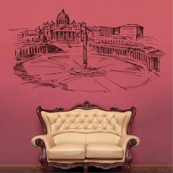 ik2530 Wall Decal Sticker Piazzale Roma and St. Peter's Basilica Italy living room