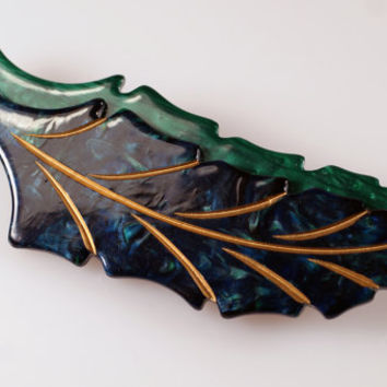 Vintage Carved Plastic Lucite Cellulose Acetate Green Blue Gold Double Leaf Pin