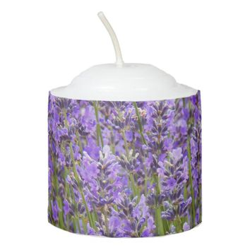 Purple Lavender Floral Photo Votive Candle