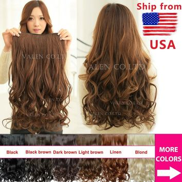 "2017 New Sexy Girls 20"" / 50cm 130g Curly Wave One Piece Clip In on Hair Extensions"