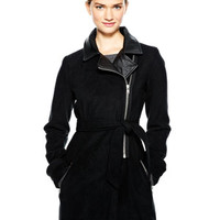 Tie-Waist Moto Jacket with Thinsulate - Black