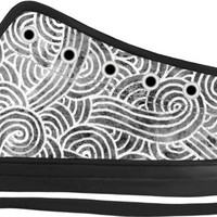 Grey and white swirls doodles Black Low Tops