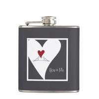 Red Heart Birds In Love Rustic Modern Personalized Hip Flask