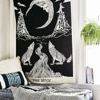 Crying Wolf of The Moon Tapestry wall hanging Bohemian Bed Sheet Ethnic Wall Art,Indian Mandala Tapestry,Hippie Tapestry,Bohemian Bedspread Tapestry,Dorm Tapestry, Tapestry Wall Hangings by raajsee
