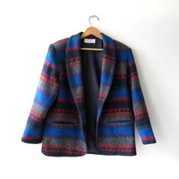 Vintage colorful Southwestern Navajo blanket coat. Tribal Blazer. Wool Blend.