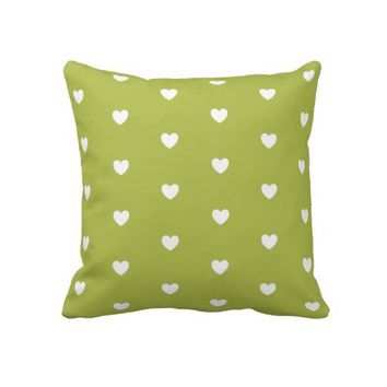 Bright Chartreuse Hearts Patterned Pillows from Zazzle.com