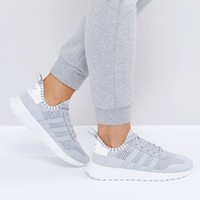 adidas Originals Primeknit Gray FLB Racer Sneakers at asos.com