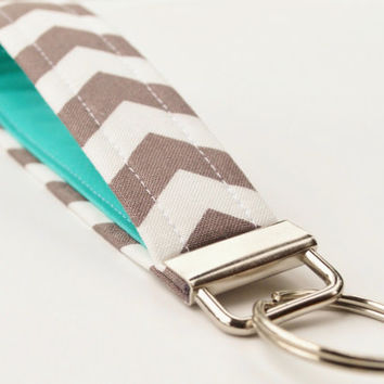 Handmade Chevron Key Chain Fabric Key Fob by BrooklynLoveDesigns
