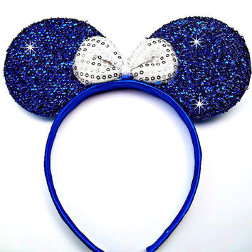 MINNIE MOUSE EARS Headband Dark Blue Sparkle Shimmer white Sequin Bow Mickey