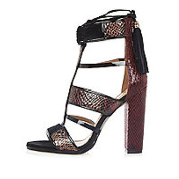 Dark red caged T-bar block heels - sandals - shoes / boots - women