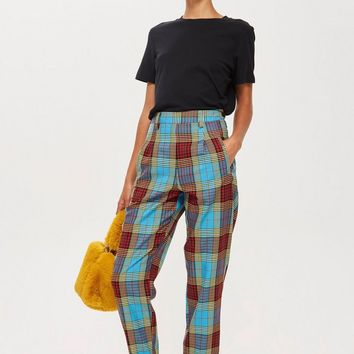 Blue Check Trousers | Topshop