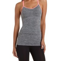 Gray Combo Strappy Marled Active Tank Top by Charlotte Russe