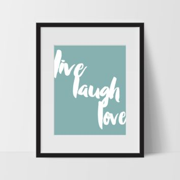 Motivational Wall Art in Green, Live Laugh Love, Dorm Room Art, For The Home, Minimalist