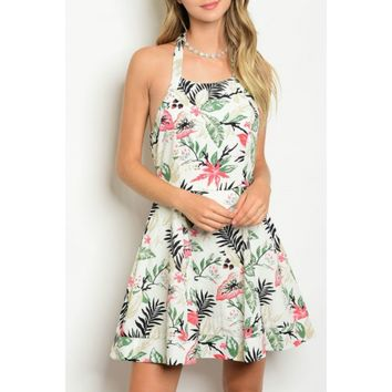 Once A Palm A Time Halter Tropical Print Dress