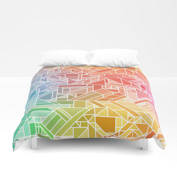 BRIGHT VIBRANT GRADIENT GEOMETRIC SHAPES RAINBOW PRINT TILED MOSAIC TIE DYE COLORFUL Duvet Cover by AEJ Design