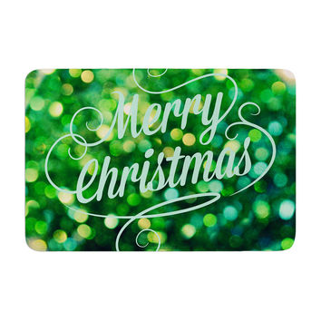 "Robin Dickinson ""Merry Christmas"" Green Memory Foam Bath Mat"