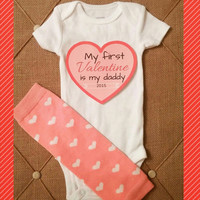 Daddy's Valentine's Onesuit - First Valentine's Day - Mommy - Grandma - Grandpa - Baby Boy - Baby Girl -  Photos