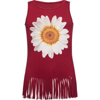 Full Tilt Daisy Fringe Girls Tank Red  In Sizes