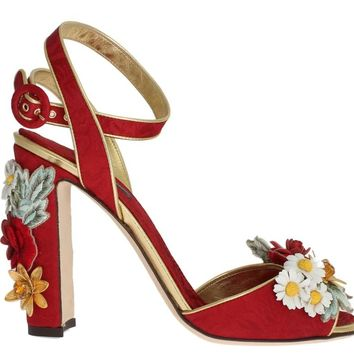 Red Brocade Floral Crystal Sandals