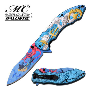 Master Collection 4.75 Inch Closed Fantasy Spring Assisted Folding Knife Silver