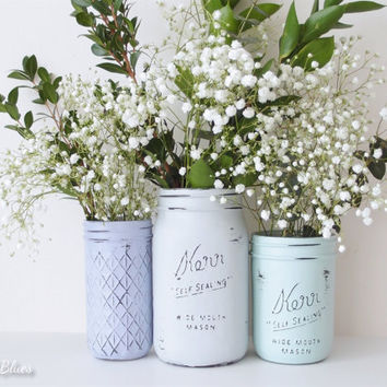 Beach Wedding Decor Painted Mason Jars Home Office Dorm Decor Centerpiece Vase