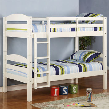 White Wood Twin Over Twin Bunk Bed With Ladder & Guardrail