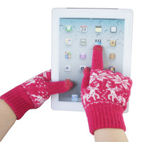 Snow and Deer Woolen Glovers for Screen Touch