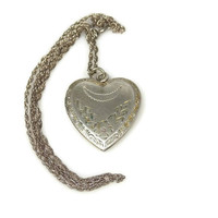 Art Deco Sterling Silver Heart Locket  Necklace Flowers Crescent Moon