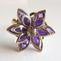 Flower Ring  Purple Lotus Blossom  Adjustable Size  Assorted Colors Silver Plated Finger Jewelry