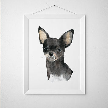 Chihuahua poster Watercolor dog print Cute nursery decor ACW123