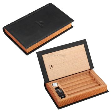 COHIBA Gadgets Cigar Leather Case Travel Tobacco Storage Box Portable 5 Cigars Humidor Holder With Hygrometer Humidifier Cutter