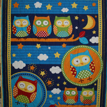 Cot quilt crib quilt - Bright and fun quilt featuring Owls on a Tree gender neutral